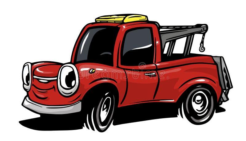 Caminhão de reboque dos desenhos animados isolado no fundo branco ilustração royalty free