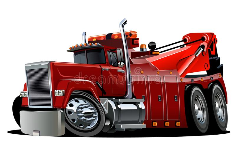 Caminhão de reboque grande do equipamento dos desenhos animados ilustração stock