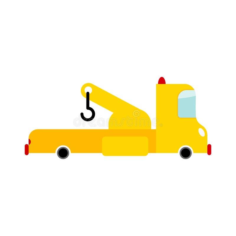 Caminhão de reboque isolado Transporte no fundo branco O carro evacua ilustração stock