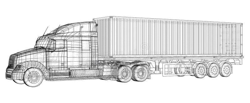 Caminhão de reboque modelo Fio-quadro Formato EPS10 Rendição do vetor de 3d ilustração do vetor