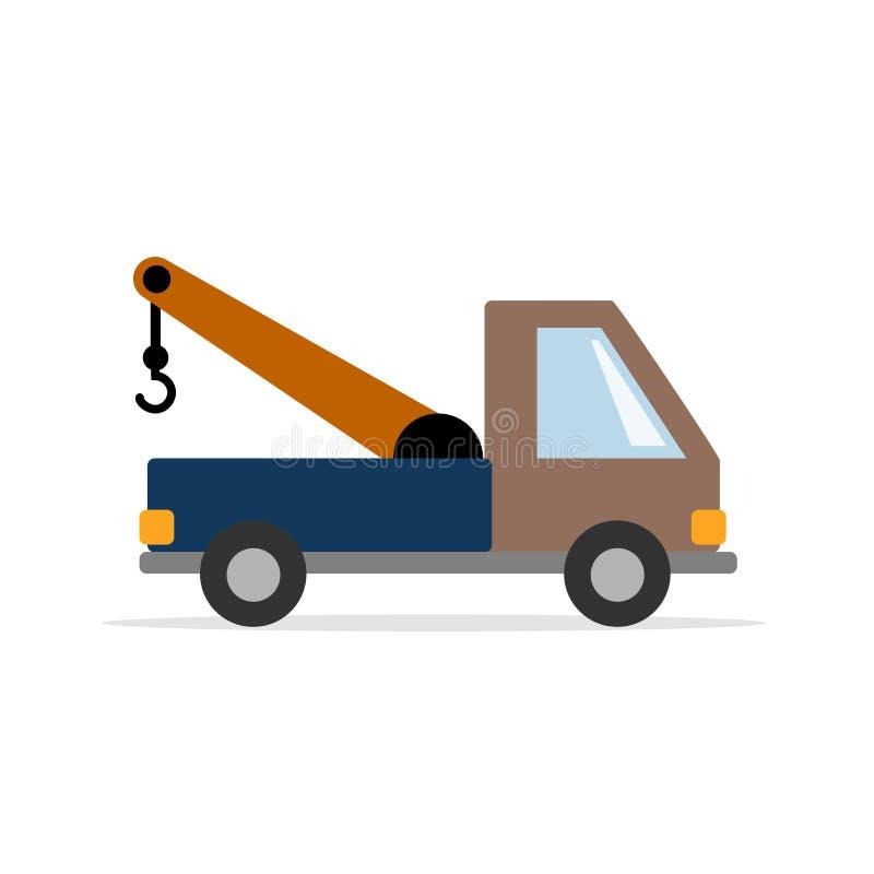 Caminhão de reboque - um carro de trabalho Gráficos de vetor no estilo liso ilustração royalty free