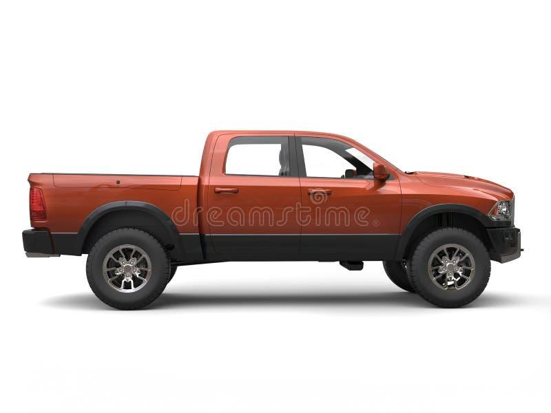 - Caminhão de recolhimento moderno alaranjado - vista lateral escura ilustração royalty free