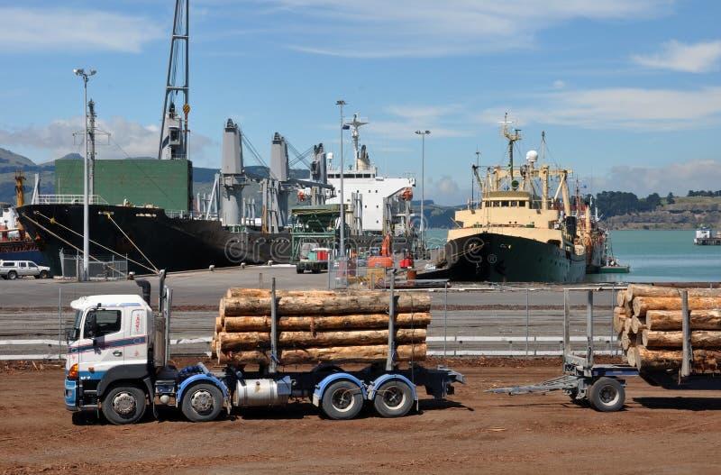 Caminhão de registo de Lyttleton, Christchurch Nova Zelândia imagens de stock
