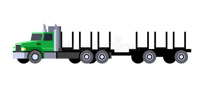 Caminhão de registro com carro do reboque ilustração royalty free