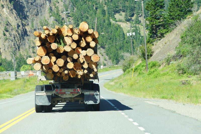 Caminhão de registro na estrada da montanha fotos de stock royalty free