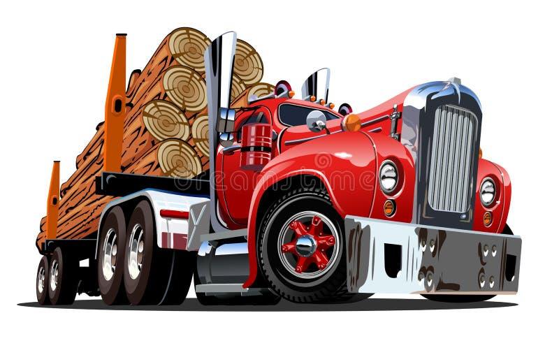 Caminhão de registro retro dos desenhos animados ilustração do vetor