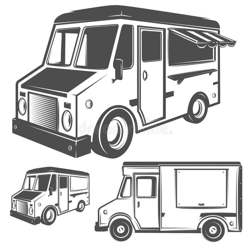 Caminhão do alimento e caminhão do gelado para emblemas e logotipo ilustração stock