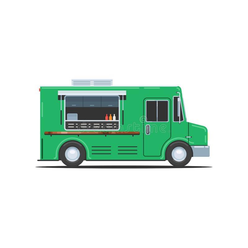 Caminhão do alimento verde ilustração stock