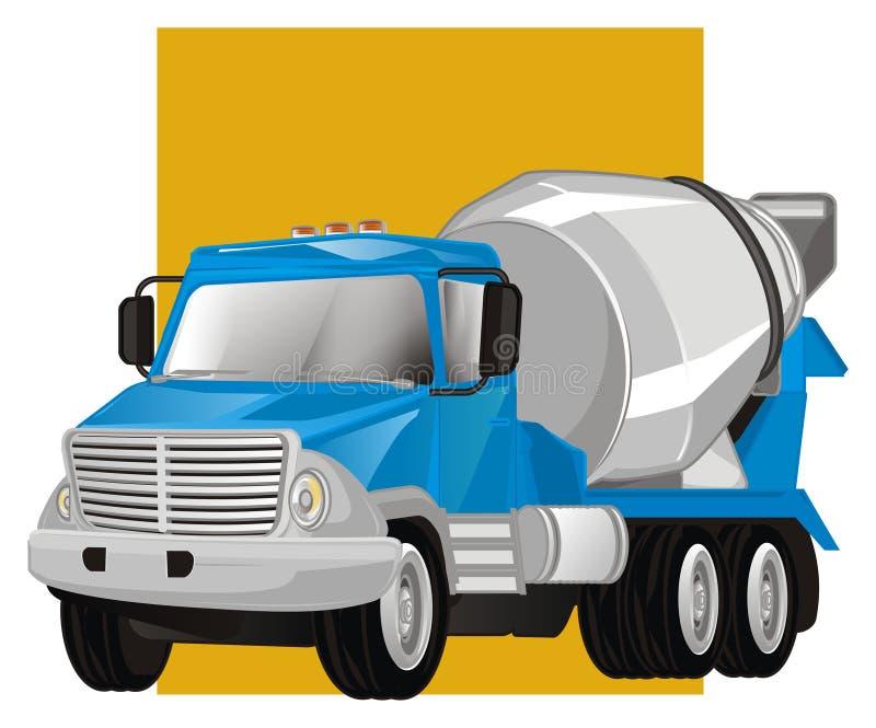 Caminhão do cimento e sinal amarelo ilustração stock