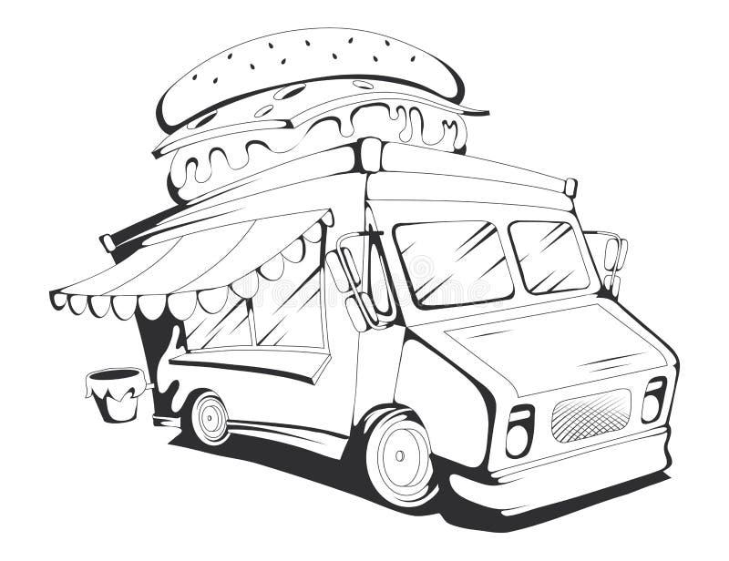 Caminhão do fast food Gráficos de vetor ilustração stock