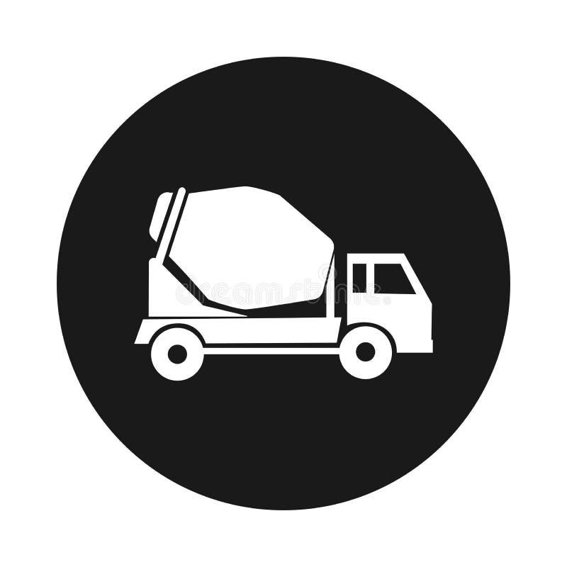 Caminhão do misturador de cimento Ícone redondo Caminhão da construção ilustração royalty free