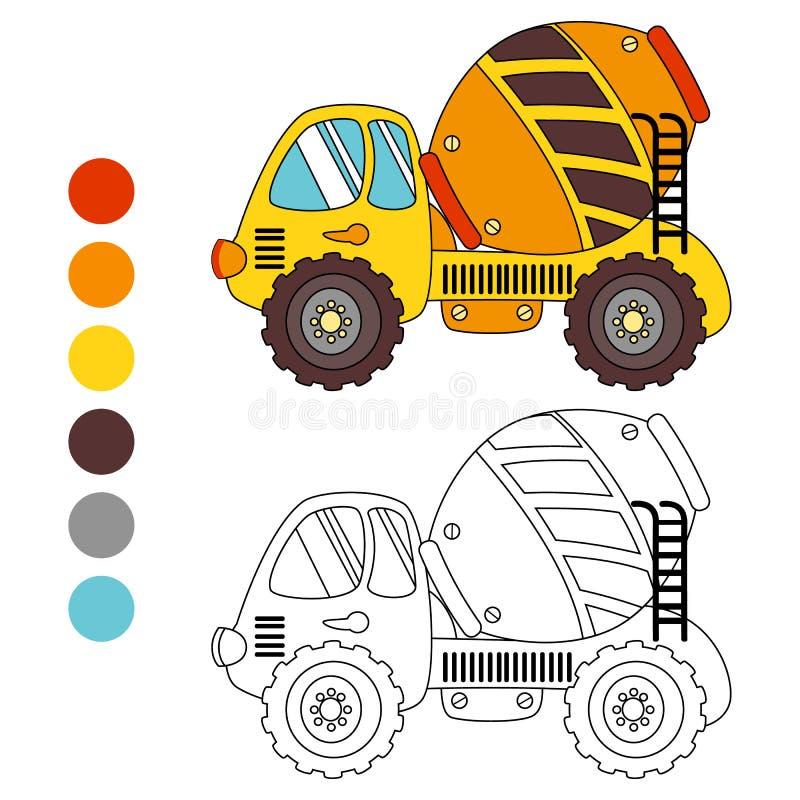 Caminhão do oncrete do  do livro para colorir Ñ, disposição das crianças para o jogo ilustração do vetor