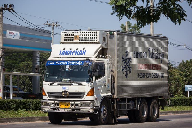 Caminhão do recipiente de Thanaporn Frozen Food fotografia de stock