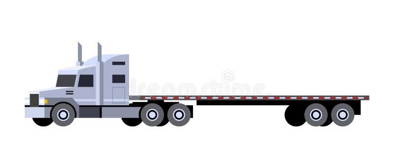 Caminhão do trator do reboque do leito ilustração stock