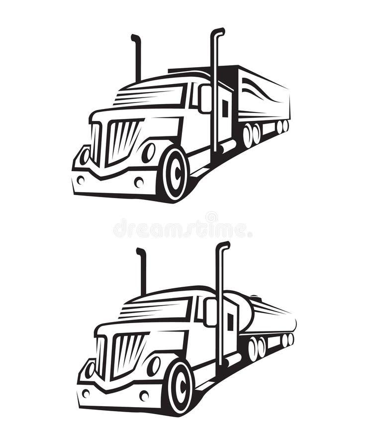 Caminhão e caminhão de tanque ilustração royalty free