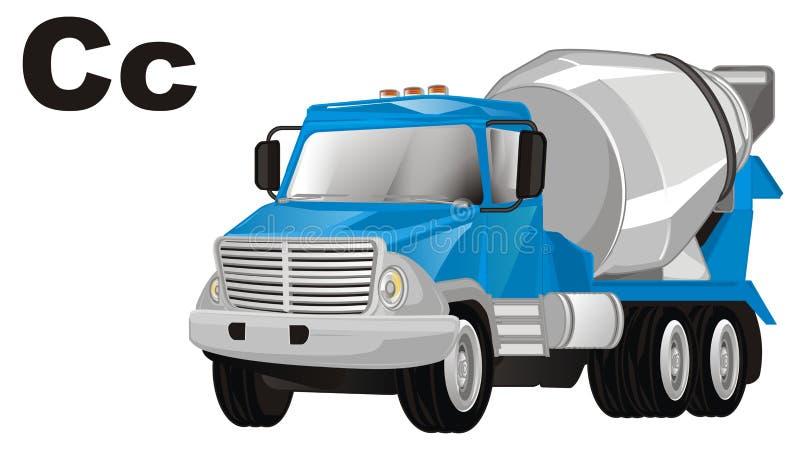 Caminhão e letras do cimento ilustração do vetor