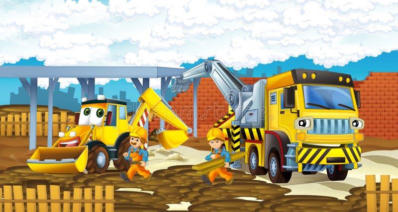 Caminhão e máquina escavadora dos desenhos animados - veículos e trabalhadores ilustração stock