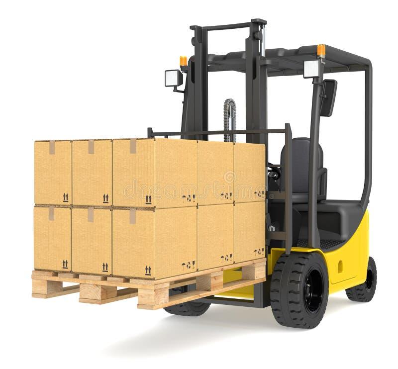Caminhão e pálete de Forklift. ilustração do vetor