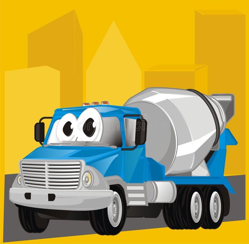 Caminhão e sombra engraçados da cidade ilustração stock