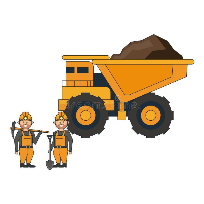 Caminhão e trabalhadores grandes de mineração com ferramentas ilustração royalty free