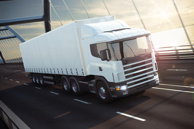 Caminhão em uma rendição da ponte 3D do mar ilustração stock