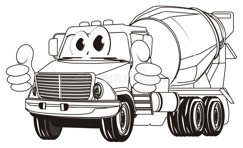 Caminhão engraçado colorindo do cimento com gesto ilustração do vetor