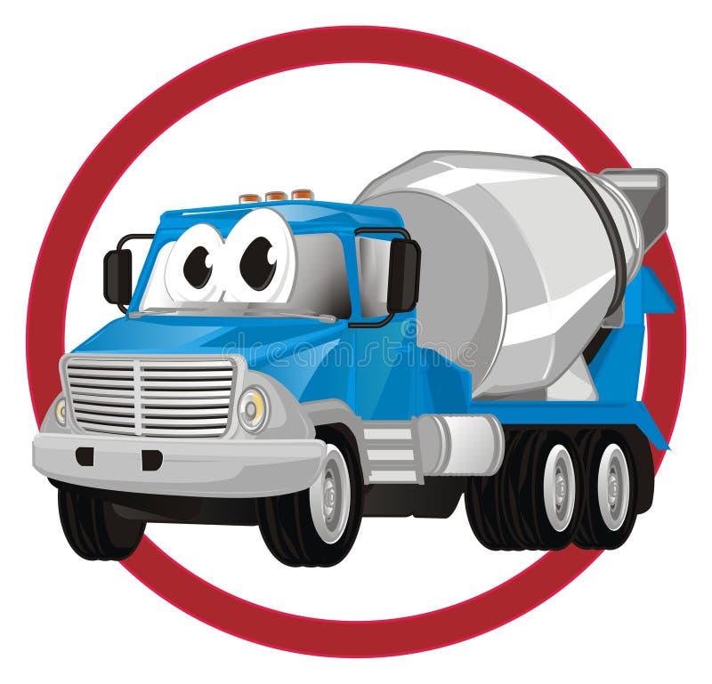 Caminhão engraçado do cimento no sinal ilustração royalty free