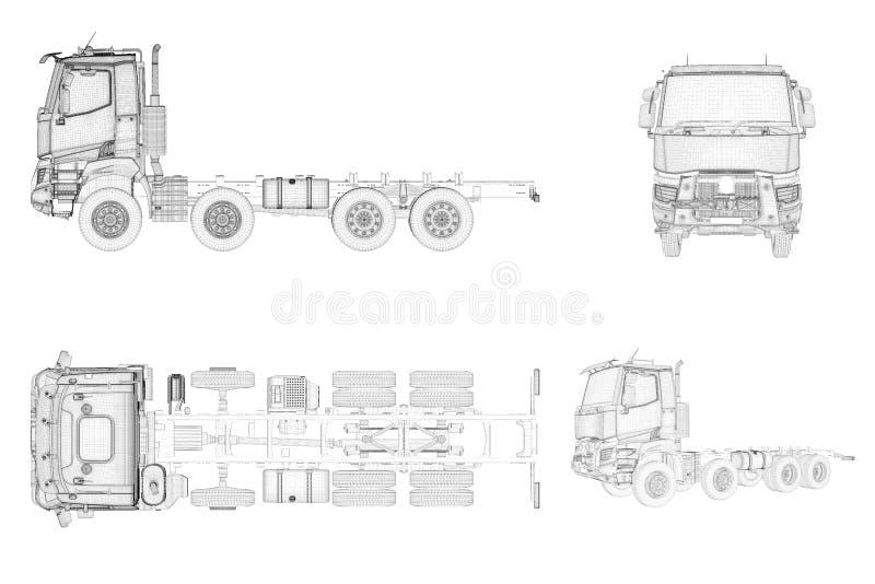 Caminhão genérico e brandless de Wireframe na vista quatro ilustração royalty free
