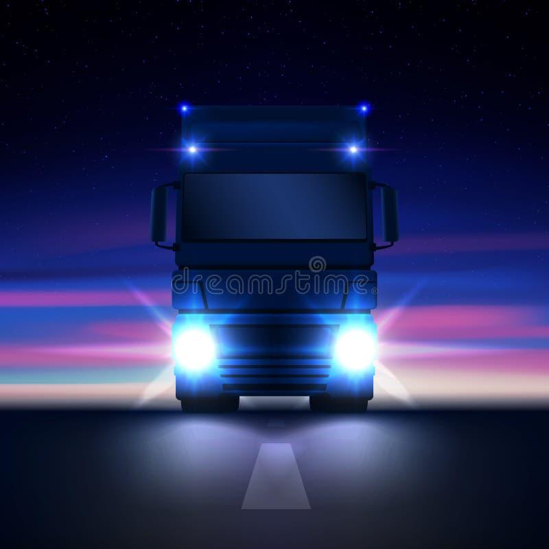 Caminhão grande da noite semi com faróis brilhantes e a camionete seca que montam semi na obscuridade na estrada da noite no fund ilustração royalty free