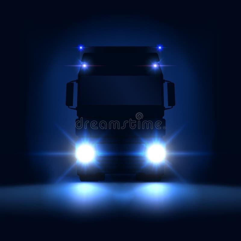 Caminhão grande da silhueta da noite semi com faróis brilhantes e semi montada no fundo escuro da noite, vista dianteira, vetor ilustração stock