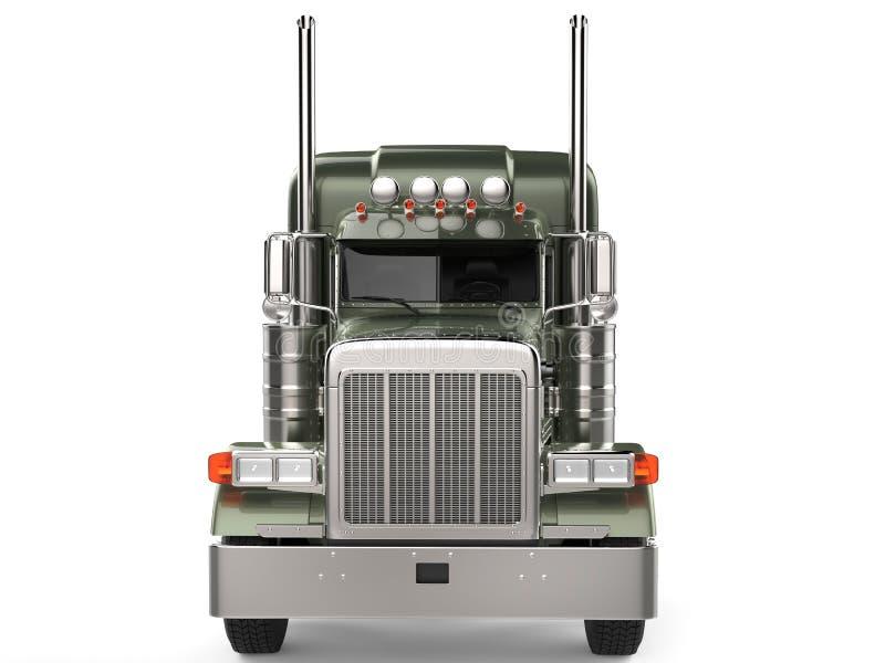 Caminhão grande metálico do longo-curso do verde azeitona - vista dianteira ilustração royalty free