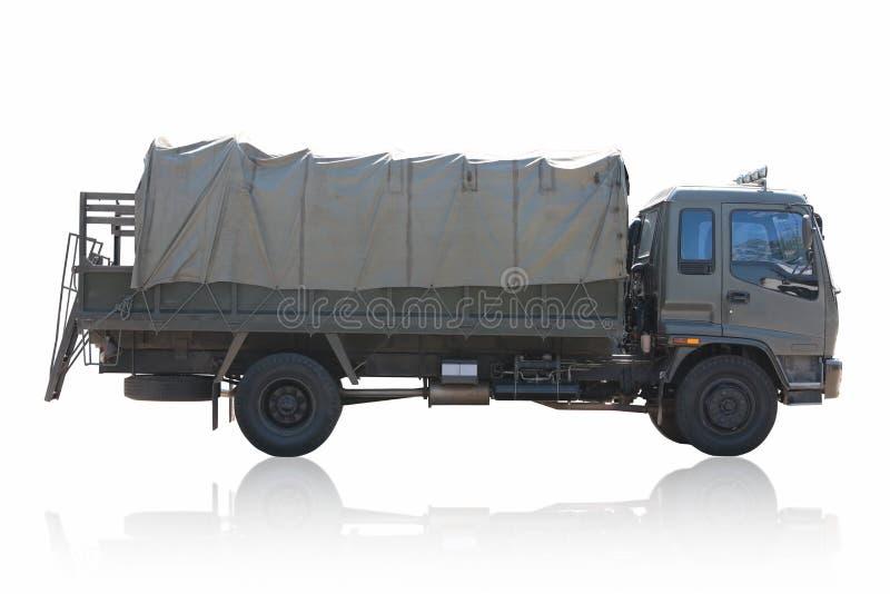Caminhão militar isolado no fundo branco fotografia de stock royalty free