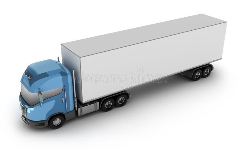 Caminhão moderno com o recipiente de carga, isolado no whi ilustração do vetor