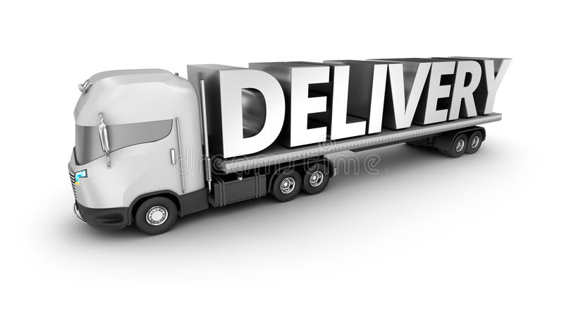 Caminhão moderno com palavra da entrega, ilustração stock
