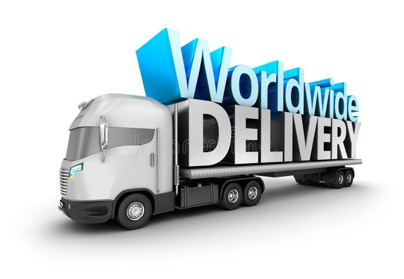 Caminhão moderno com palavra mundial da entrega ilustração royalty free