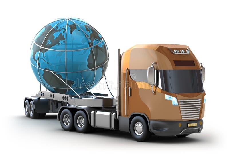 Caminhão moderno que transporta o globo ilustração do vetor