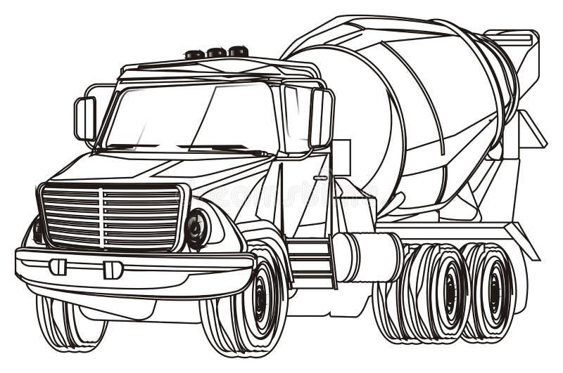Caminhão não colorido do cimento ilustração stock