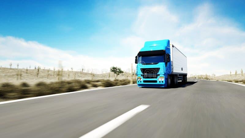Caminhão na estrada, estrada Transportes, conceito da logística rendição 3d ilustração do vetor