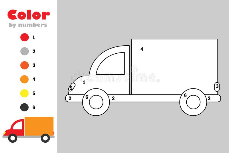 Caminhão no estilo dos desenhos animados, cor pelo número, jogo do papel da educação para o desenvolvimento das crianças, página  ilustração do vetor