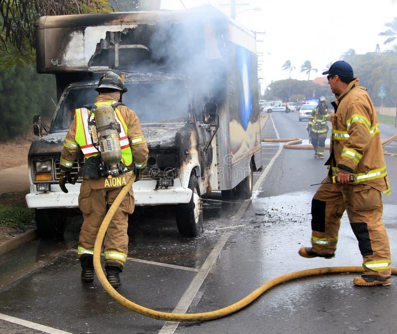 Caminhão no fogo imagem de stock royalty free