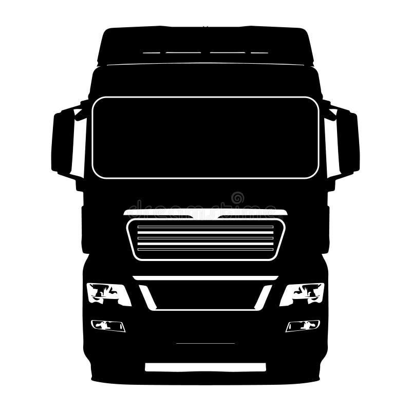 Caminhão preto em uma ilustração branca do ícone do fundo imagens de stock