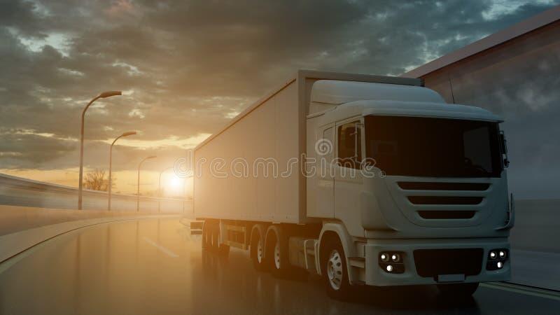 Caminhão que conduz em uma estrada no por do sol retroiluminado por um sunburst alaranjado brilhante sob um céu nebuloso sinistro ilustração royalty free