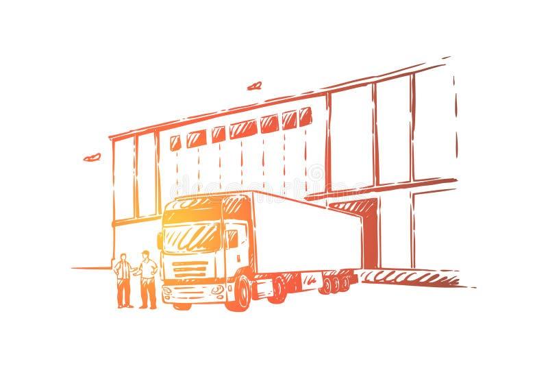 Caminhão que entrega a carga, descarregando bens no armazém, logística e distribuição, fornecedor por atacado ilustração stock