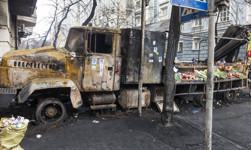 Caminhão queimado fotos de stock