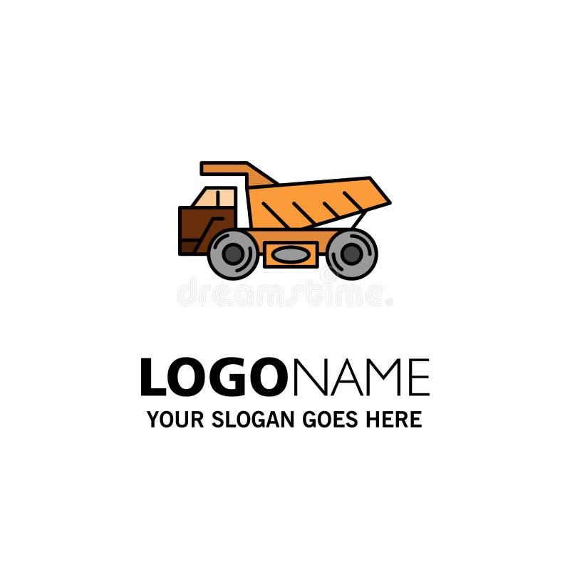 Caminhão, reboque, transporte, indústria da construção Logo Template cor lisa ilustração royalty free