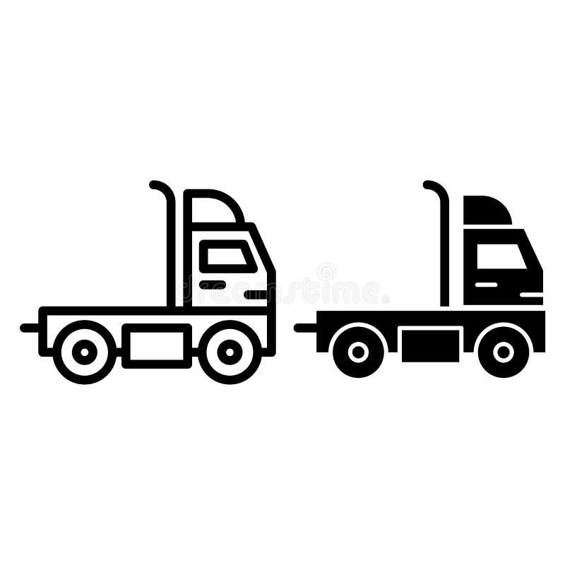 Caminhão sem uma linha do reboque e um ícone do glyph Ilustração do vetor da carga isolada no branco Projeto do estilo do esboço  ilustração stock