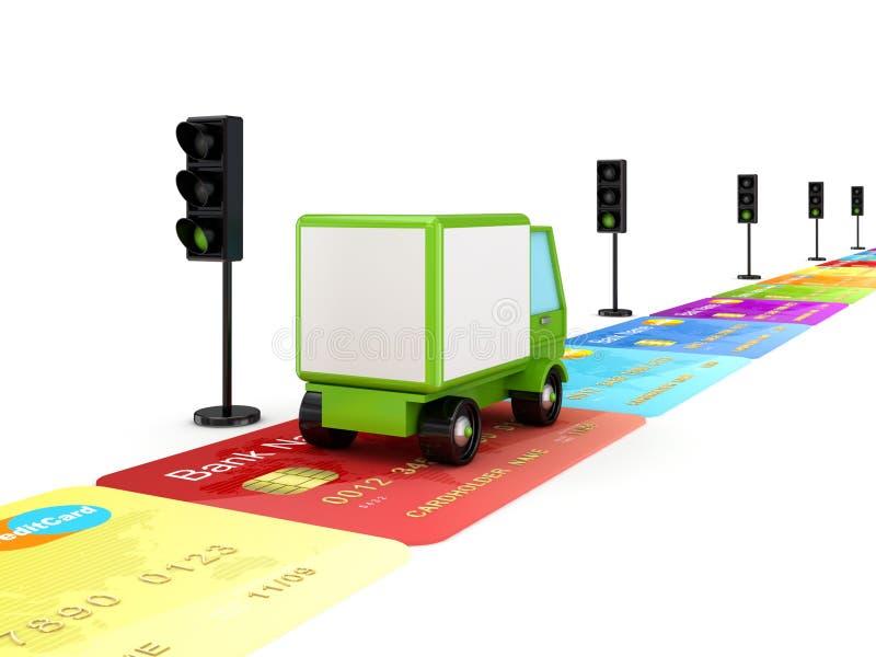 Caminhão verde em uma estrada feita de cartões de crédito. ilustração stock