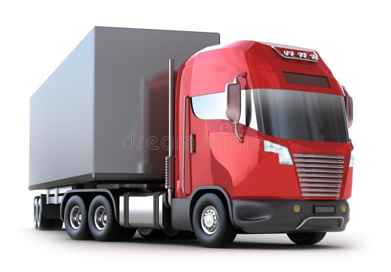 Caminhão vermelho com recipiente ilustração stock