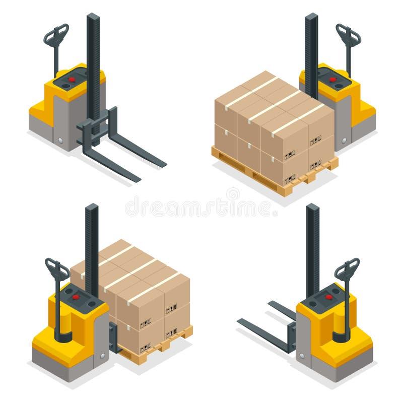 Caminhões de empilhadeira isométricos do estojo compacto do vetor isolados no branco Grupo do ícone do equipamento do armazenamen ilustração royalty free