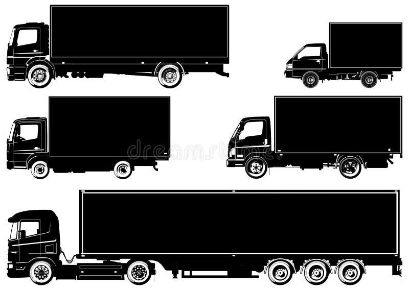 Caminhões do vetor ajustados